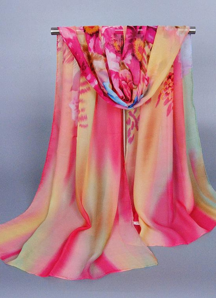 c32baf01fdf8 Femmes nouveau foulard en mousseline de soie Floral Print dégradé couleur  Long châle Pashmina Beach Echarpe
