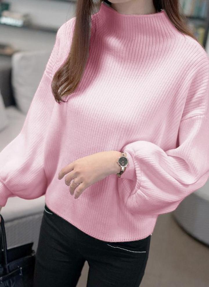 33eb1f49269 Women High Neck Bat Lantern Sleeve Knitted Sweater