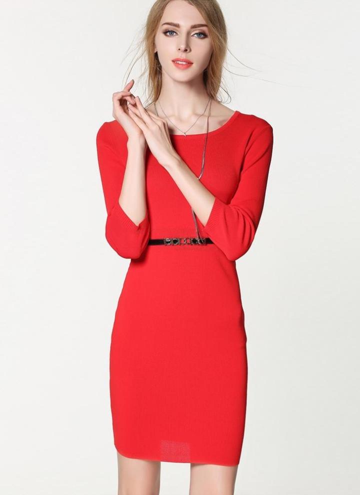 Neue Europa Frauen gestrickte Kleid O Hals 3/4 Ärmel einfarbig schlanke  elegante Bodycon OL