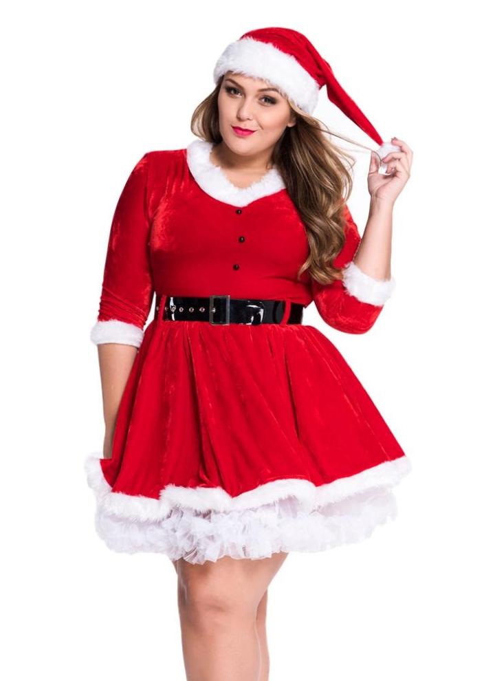 einheitsgröße Sexy Frauen Plus Size Samt Weihnachtskleid-Kostüm mit ...