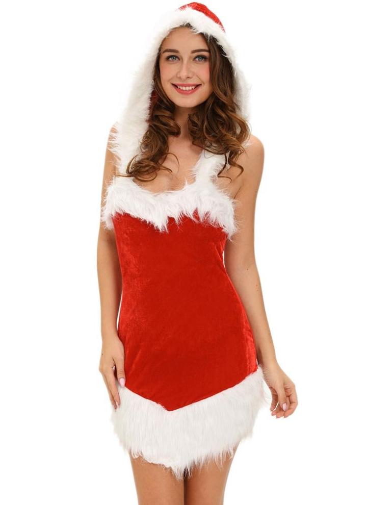 einheitsgröße Frauen Weihnachtskleid Sankt-Kostüm Splicing Kapuze ...