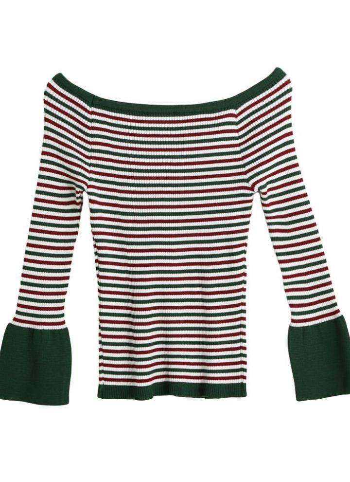 3a3cb68b7 New Moda feminina camisola de malha listrada Corte Neck alargamento da luva  alta Elastic Capuz Magro