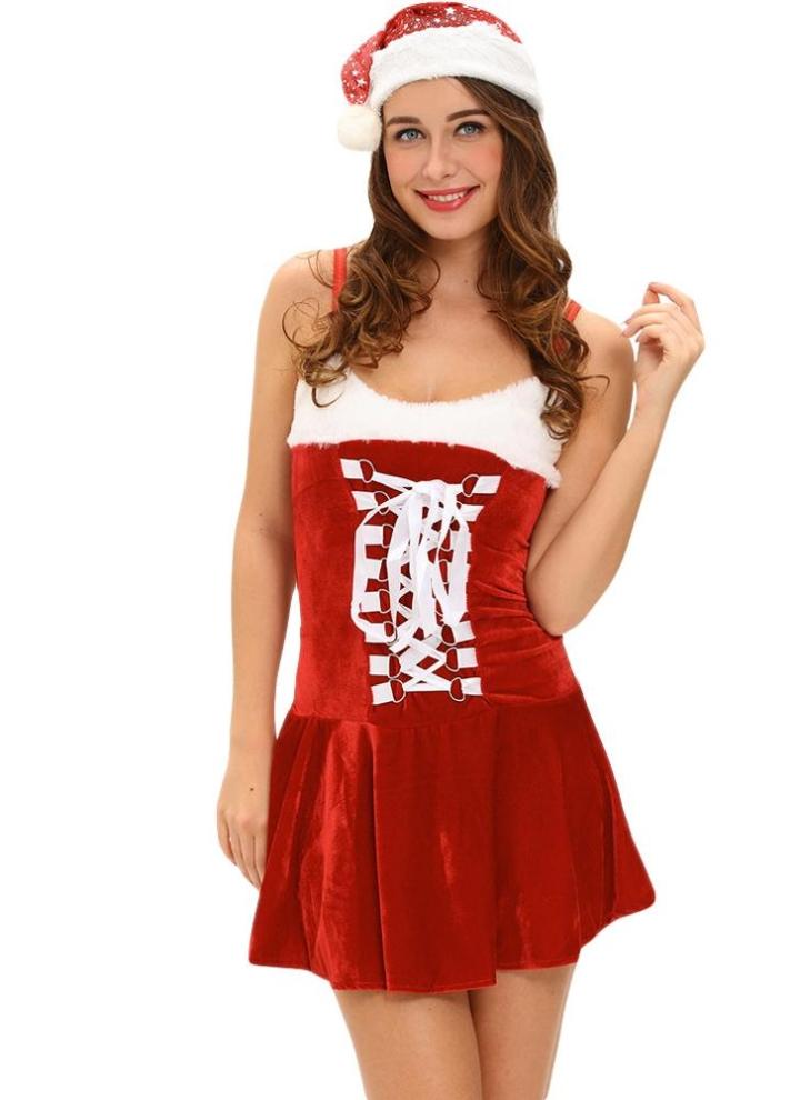 Vestido del funcionamiento de la fantasía de las nuevas mujeres del  terciopelo atractivo de la correa 2dcbddb3d86