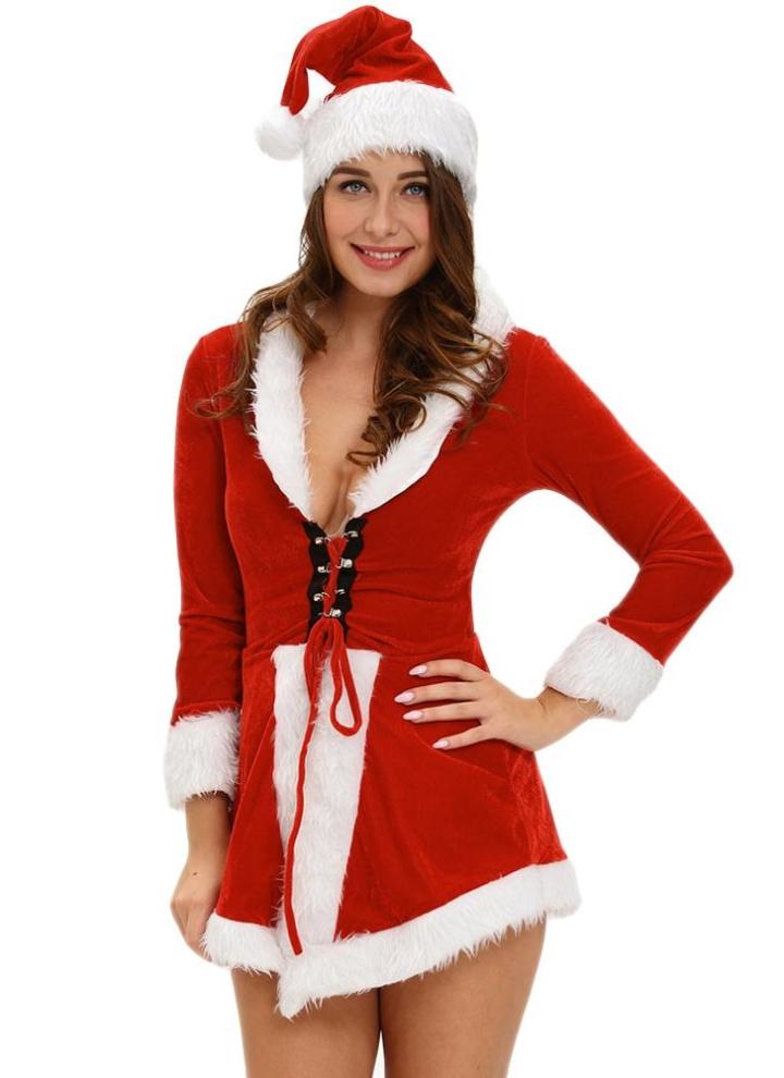 einheitsgröße Sexy Frauen Zweiteiler Velvet Sankt-Kostüm Hut Kleid ...