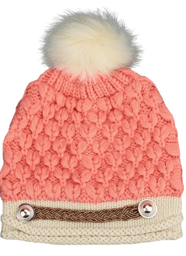 f2c81748bf81d Moda mulheres inverno malha chapéu crochê tricô peles artificiais pom-pom boina  chapéu trançado de