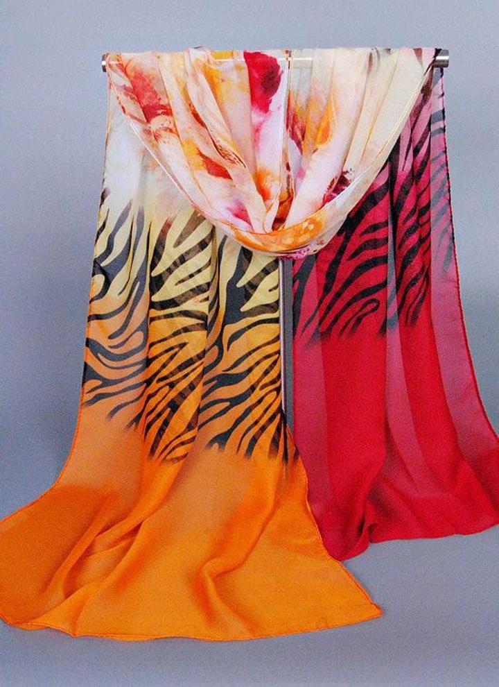 Coloré Soie Imprimé Couleur Pashmina Mousseline En De Foulard Contraste Long Zebra Nouvelles Châle Fleurs Femmes QxtdBhrsC