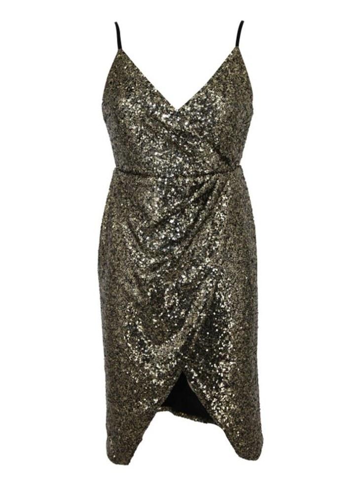 6f76f73f43d30 Sparkling Sequins Sleeveless Deep V Neck Split Slim Mini Dress