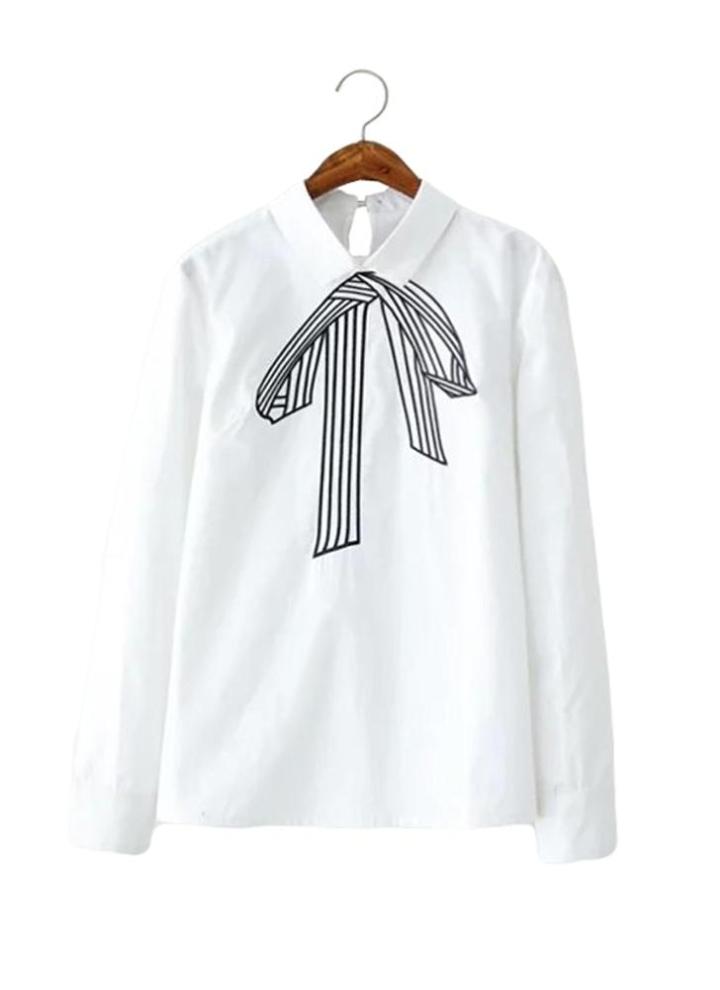 m weiß Neue Mode Damen Shirt bestickt Bow Muster Langarm OL formale ...