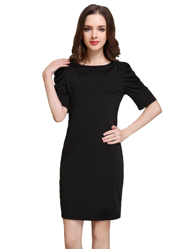 Moda donna Mini abito O-collo mezza Puff maniche Zipper Bodycon partito OL  elegante Dress 43ad7df6bf5