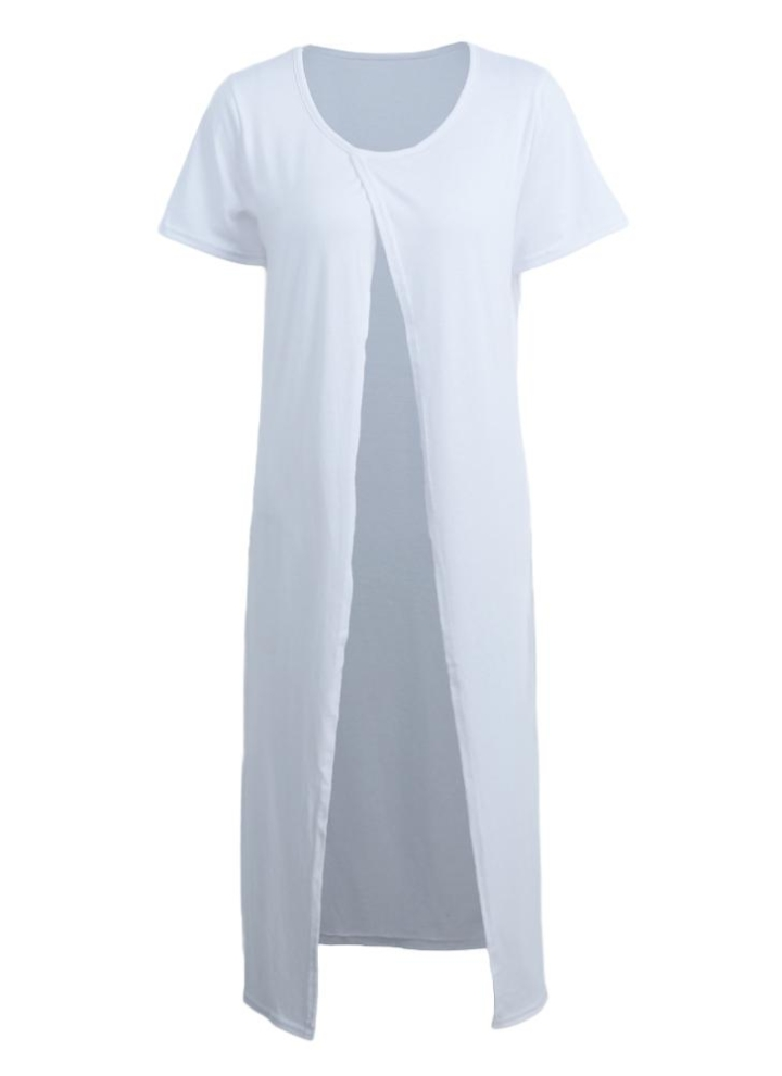 994c3bd8d61 Nueva moda mujer Maxi camiseta cruzada frontal Split corta manga blusa  Casual Tops Tee largo vestido
