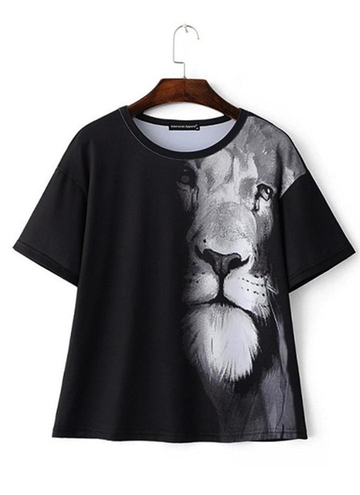 143eedfe2e2 Nueva moda mujer camiseta Animal León imprime O cuello manga corta Jersey Casual  camisa suelta Streetwear