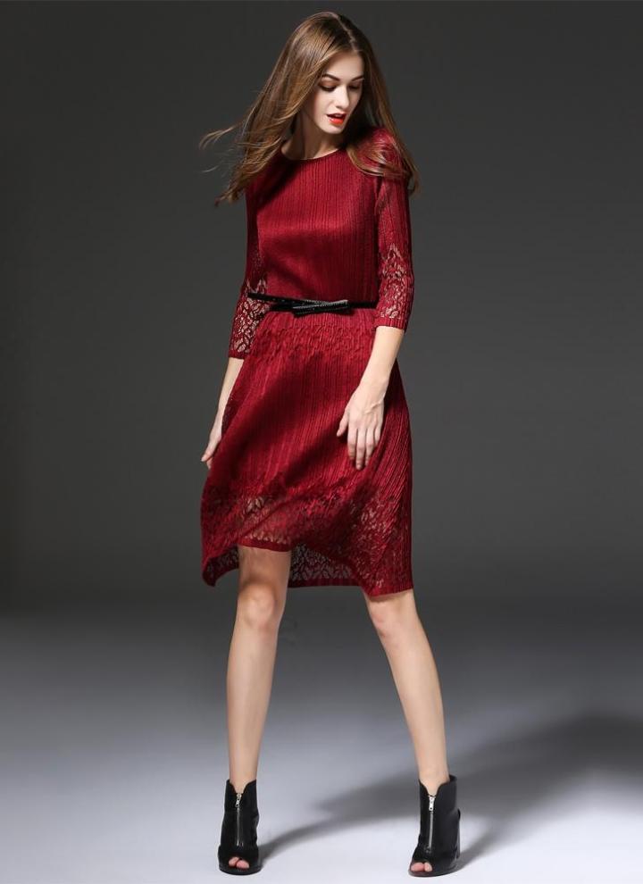 42209df81 Novas mulheres elegantes Midi vestido Hollow cor sólida O pescoço 3 4 manga  cinto fino