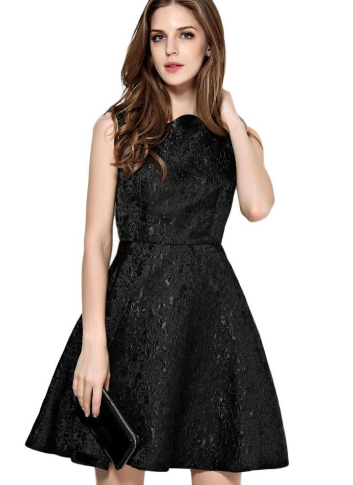 2b333aa6d57802 l schwarz Neue Mode Frauen Jacquard Kleid Square Kragen ärmellos Rücken  Zipper Party Minikleid Schwarz - Chicuu