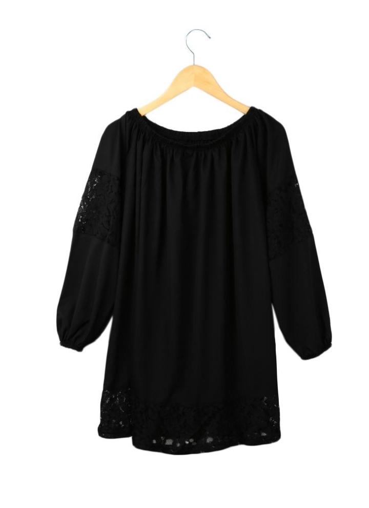 1c012747a6b Nueva moda mujer vestido Slash manga larga encaje dobladillo del cuello  hombro vestido negro Sexy