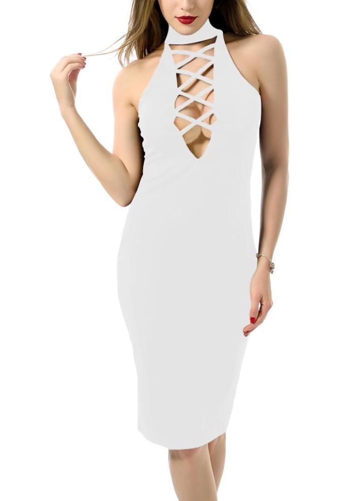 weiß l Neue reizvolle Frauen Midi figurbetontes Kleid Solide Zipper ...