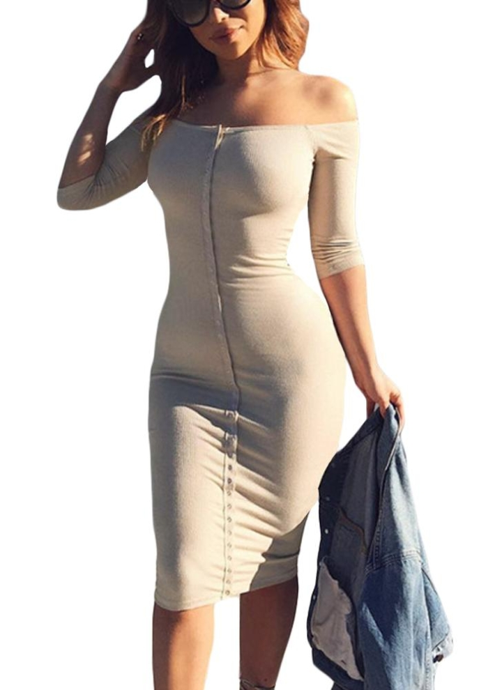 Sexy Bodycon Dress Off Shoulder Slash Neck Party Club Mini Slim Dresses 487149657693
