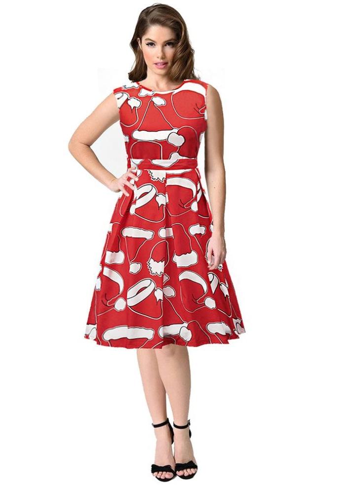 38e0dd52868 rot1 s Frauen Weihnachten Weihnachtsmann bedrucktes ärmelloses Kleid -  Chicuu