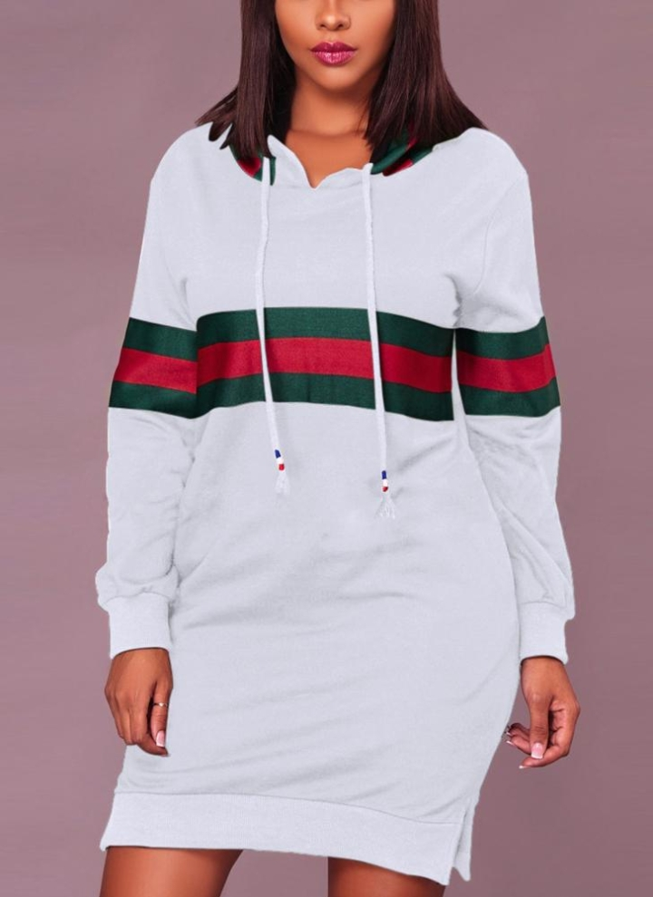 a2a97a6ff353ff Sexy Frauen Kapuzen Striped Print Kordelzug Langarm Split Clubwear Longline Hoodie  Kleid