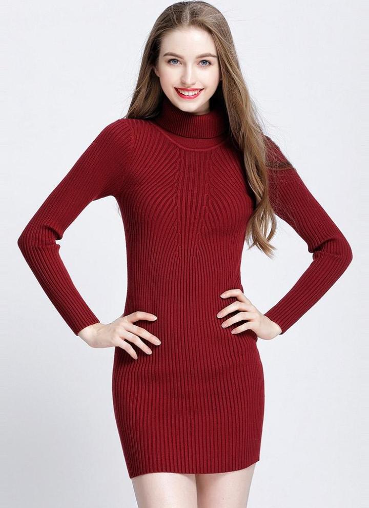 444abba695f4 Rollkragen Bodycon Mini Pullover Kleid