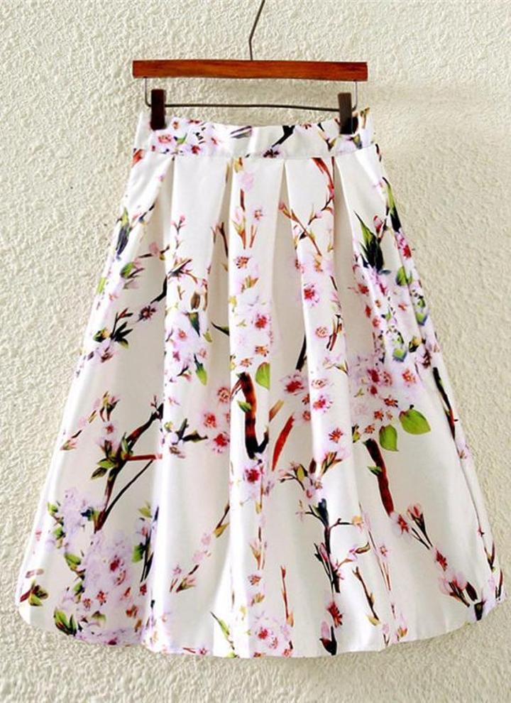 4d23357f34729d Nouveau mode femme jupe papillon Floral imprimer un ligne Zipper élégante  jupe vert/noir/blanc