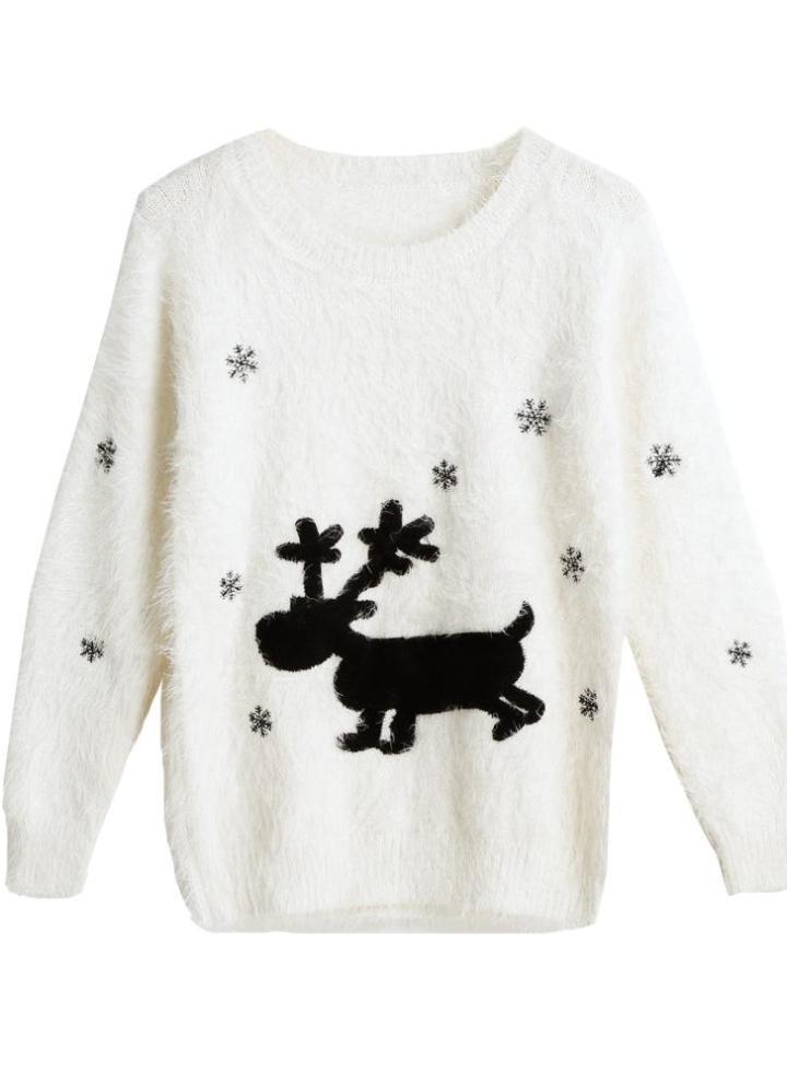 Nuove donne maglia di Natale Maglione Renna fiocchi di neve di moda modello  girocollo Fluffy Mohair 498ccaca27b
