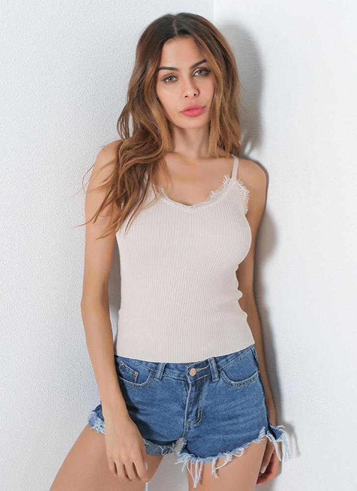 Fashion Sexy Tank Top Lace Strap O-Neck Sheer Women s Cami 5084131ed9fa