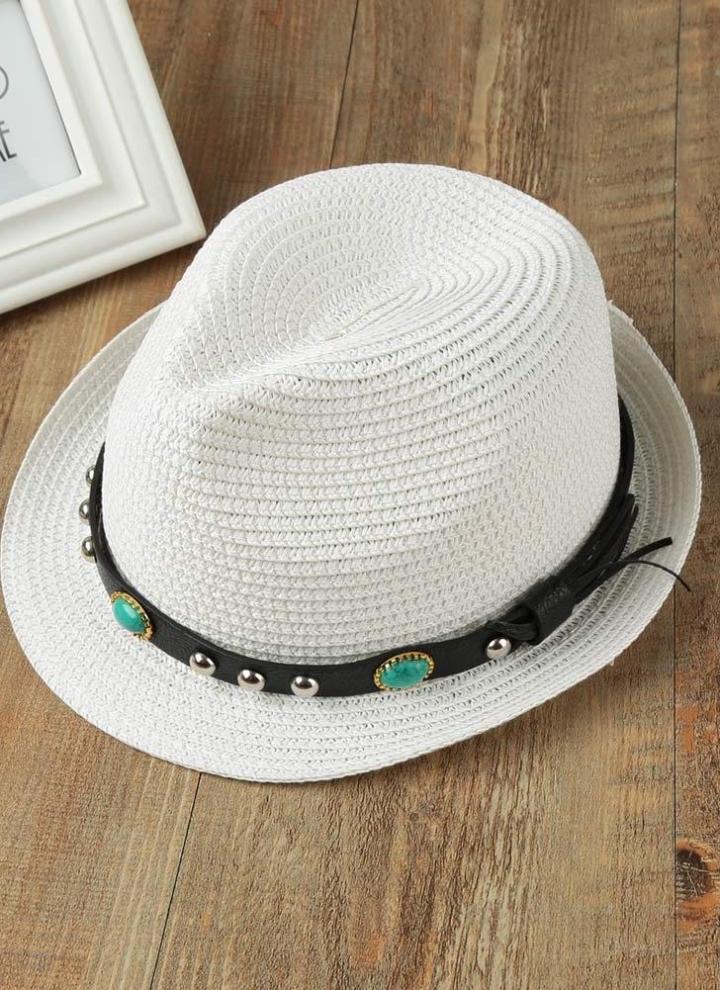 Unisex Hombres Mujeres Fedora de la paja del sombrero del remache Corto  Rodado ala retro Panamá 15045470531