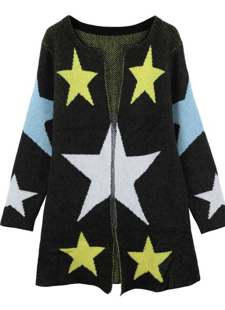 Gray One Size Star Pattern Round Neck Knitted Coat Chicuu