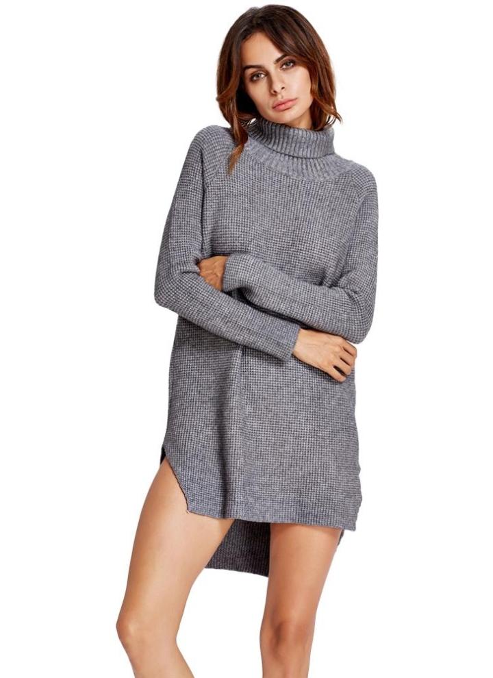 2811b6d9fb Donne in maglia a collo alto abito da Split asimmetrico Hem Maniche raglan  coste Trim maglione lungo abito da ponticello