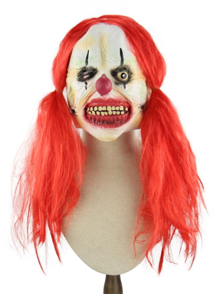 latex full face scary toothy clown mask with red twin tail hair elastic tape for halloween