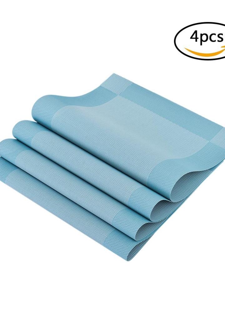 12 18 Zoll Pvc Hitzebestandiges Gewebtes Tischset Fleckresistent Anti Rutsch Waschbare Esstisch Matten Tischsets Set Von 4 Schwarz Grau