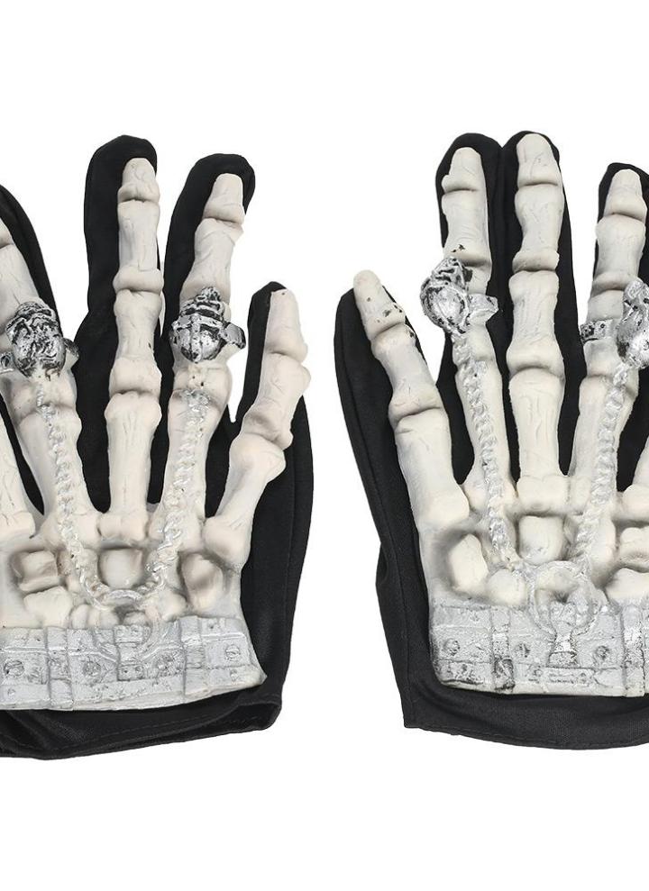 Unisex Halloween Cosplay Skull Skeleton Bone Gloves Full Finger Warm Gloves Hot