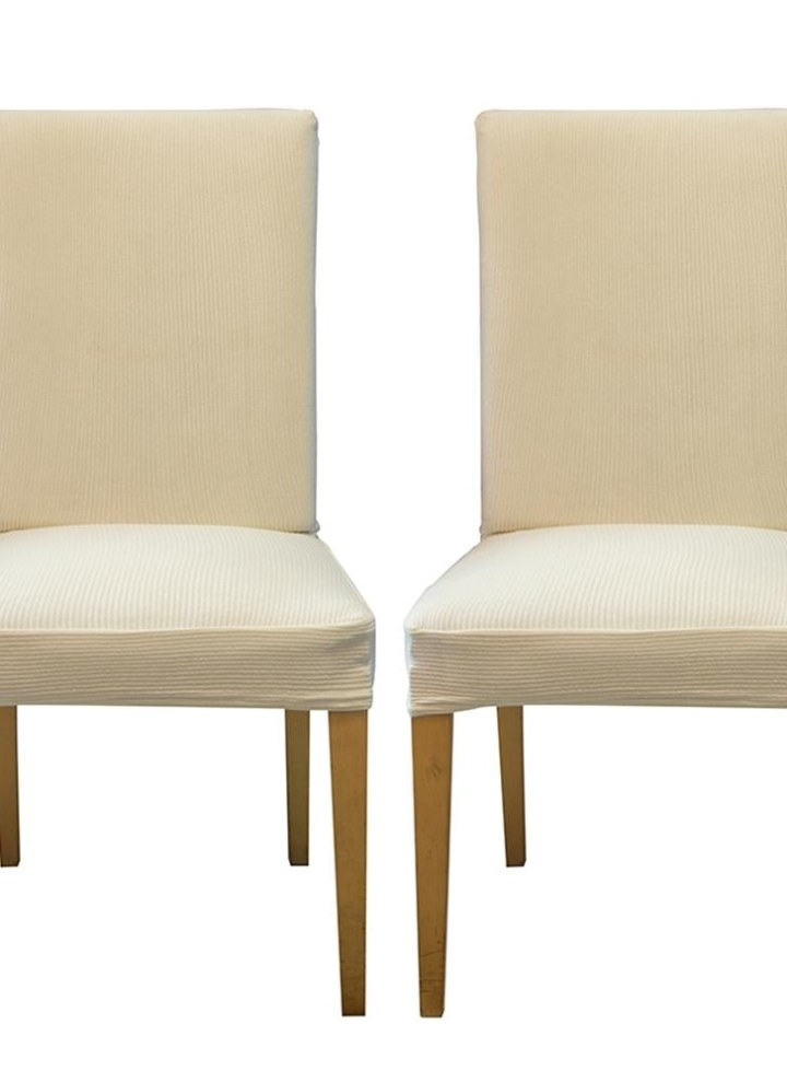 Pack Of 2 Spandex Stretch Dining Chair Seat Covers Elastic Removable Washable Ceremony Slipcovers Protectors