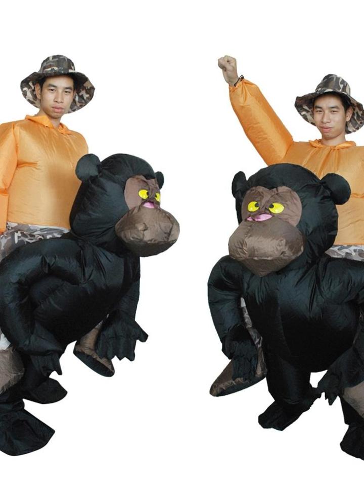 Anself Cute Adult Inflatable Chimpanzee Costume Suit Blow Up Fancy Dress  Festival Party Inflatable Black Orangutan aa7372c3596b