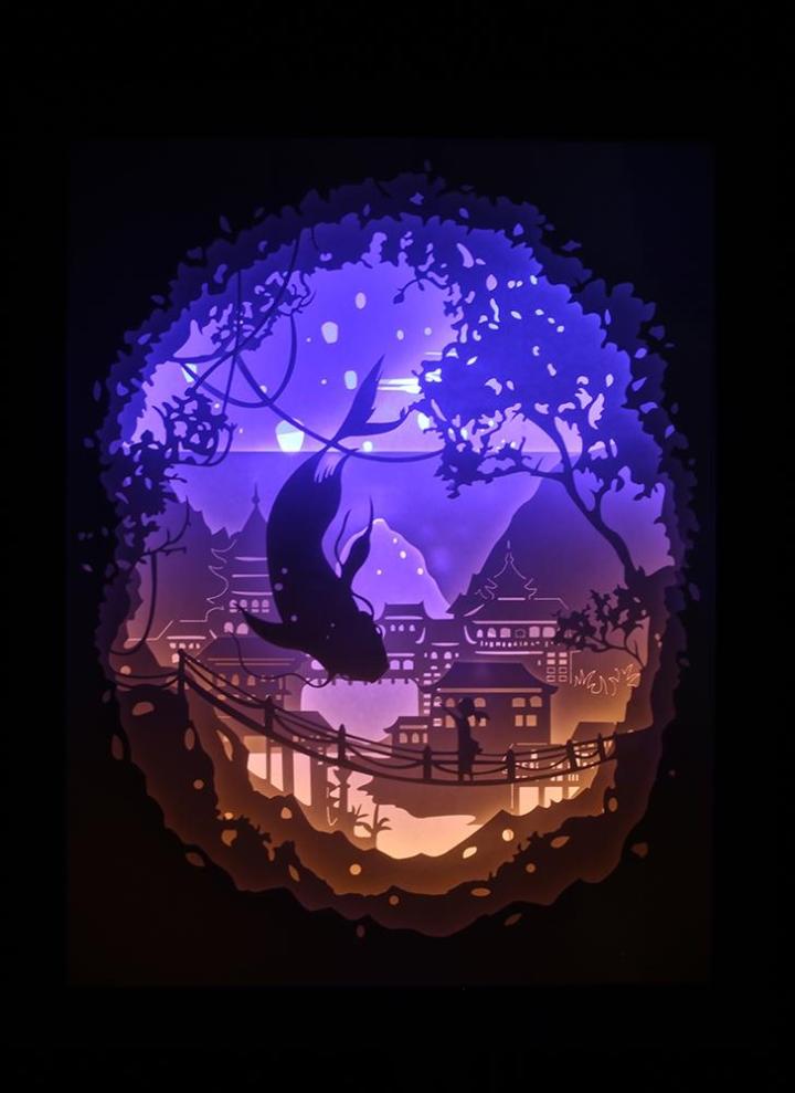 Décorative De Salon Pépinière Alimenté Interrupteur Pour Lumière Boîte Usb Couper Lampe Chambre Ombre Avec 3d Papier Bébé À Led Nuit HID9WEY2