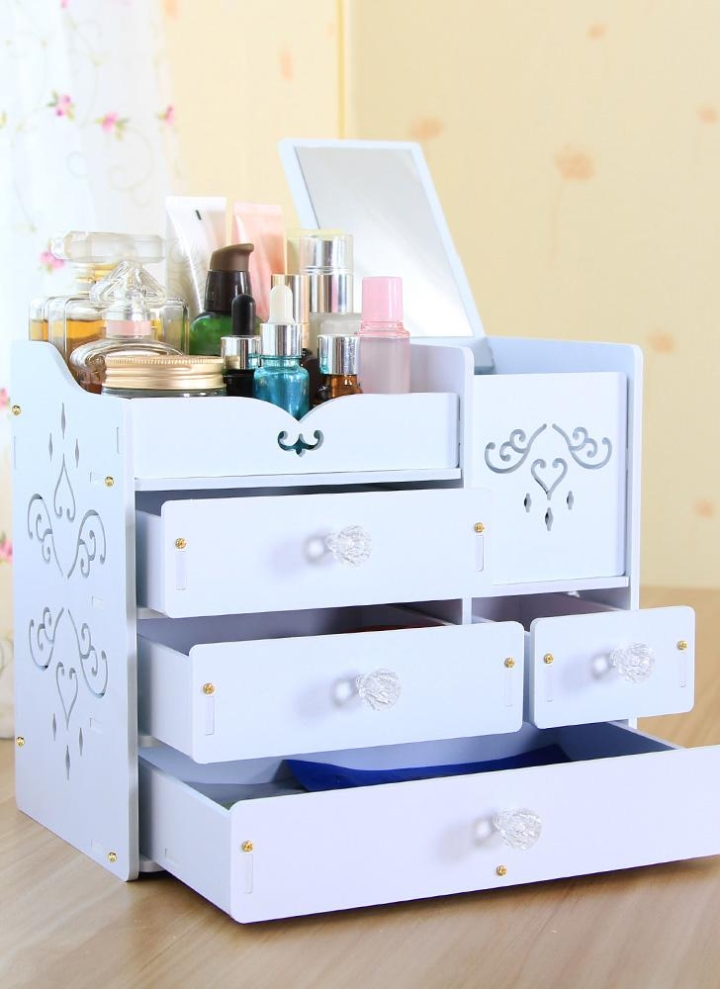 Elegant DIY White Desktop Makeup Organizer Jewelry Storage Box Cosmetic Holder With  Drawers Acrylic Mirror
