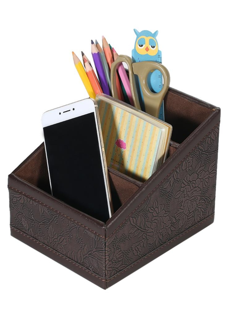 Multi Functional Pu Leather Desktop Organizer Storage Box Holder With 3 Compartments For Remote Control
