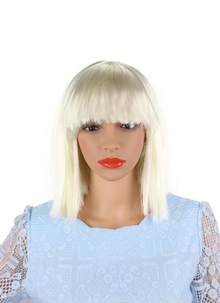 adults kids bob straight short hair wig with flat bangs women synthetic full head wigs for