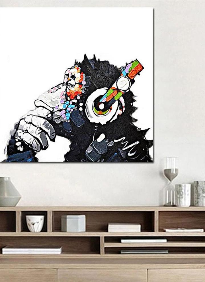 Colored Music Orangutan Cartoon Canvas Art Wall Decor Frameless Home Gifts