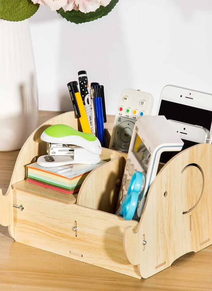 Diy Multi Functional Wooden Desktop Remote Control Storage Box Organizer Caddy Mobile Phone Pen Office