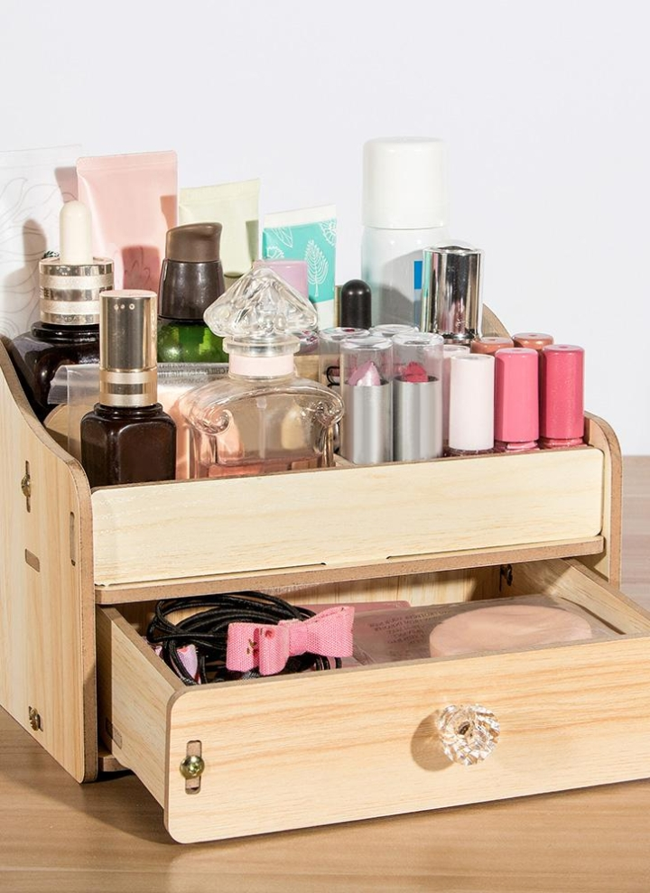 Diy Wooden Desktop Makeup Storage Box Organizer Mobile Phone Office Supplies Holder Container With Drawer