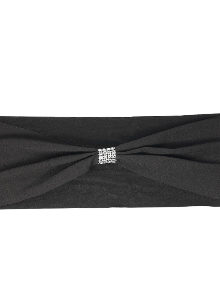 Black 50pcs Bling Bling Wedding Chair Sashes Bows Elastic Spandex