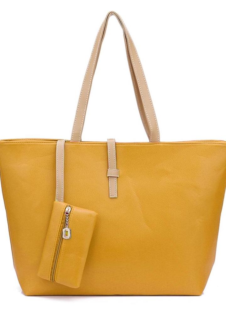 773844f1752ad Neue Mode Frauen Lady Handtasche Umhängetasche PU Leder Tote gelb