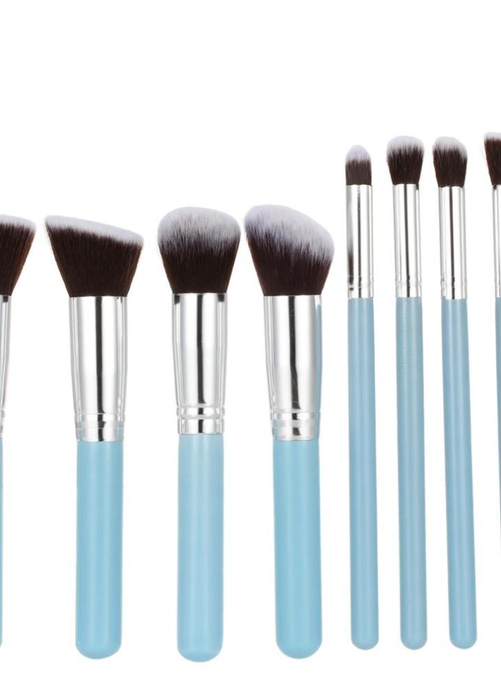 Holz 9Pcs Augenschminke Bürsten Make Up Pinsel Set Professionellen Kosmetik  Werkzeug Blaue