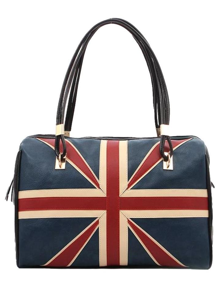 d940105abd215 Britische Frauen Jahrgang Handtasche Flag Muster PU Leder Mode Totes Retro Umhängetasche  schwarz