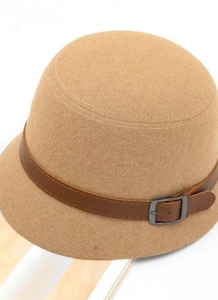 Moda Vintage donne Ladies Fedora cupola cappello di feltro cappelli secchio  cappello Camel 59e8e38ff35f