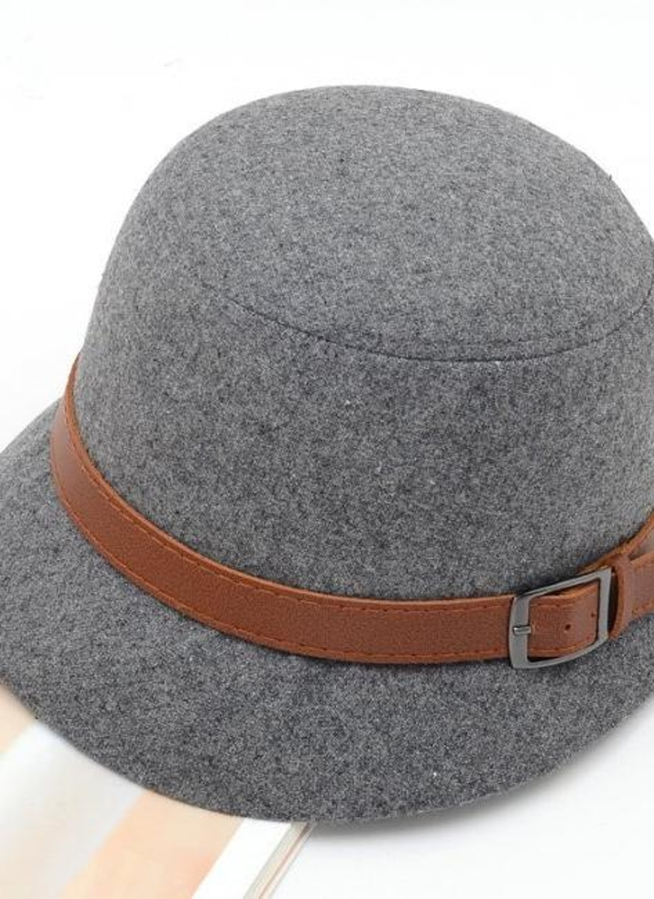 Moda Vintage mujer damas Fedora cúpula del sombrero de fieltro sombreros  cubo sombrero gris 5e05f1d81470