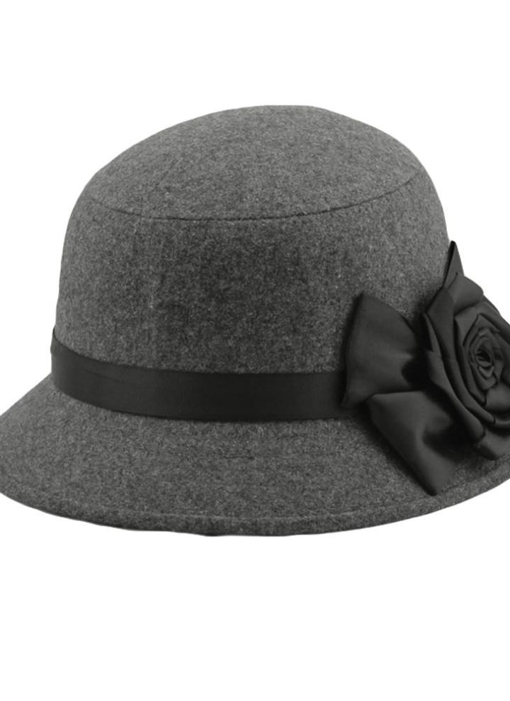 08691ab0e15 grey Women Fedora Cloche Flower Rose Bucket Hat Headwear Black - Chicuu