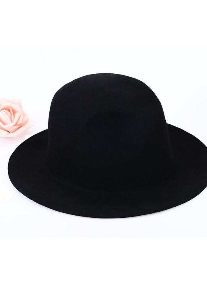 tecniche moderne grande sconto scarpe da corsa Moda Unisex lana Fedora cappello Trilby tappo corona tesa larga Bowler  Derby Headwear secchiello floscio cappello nero