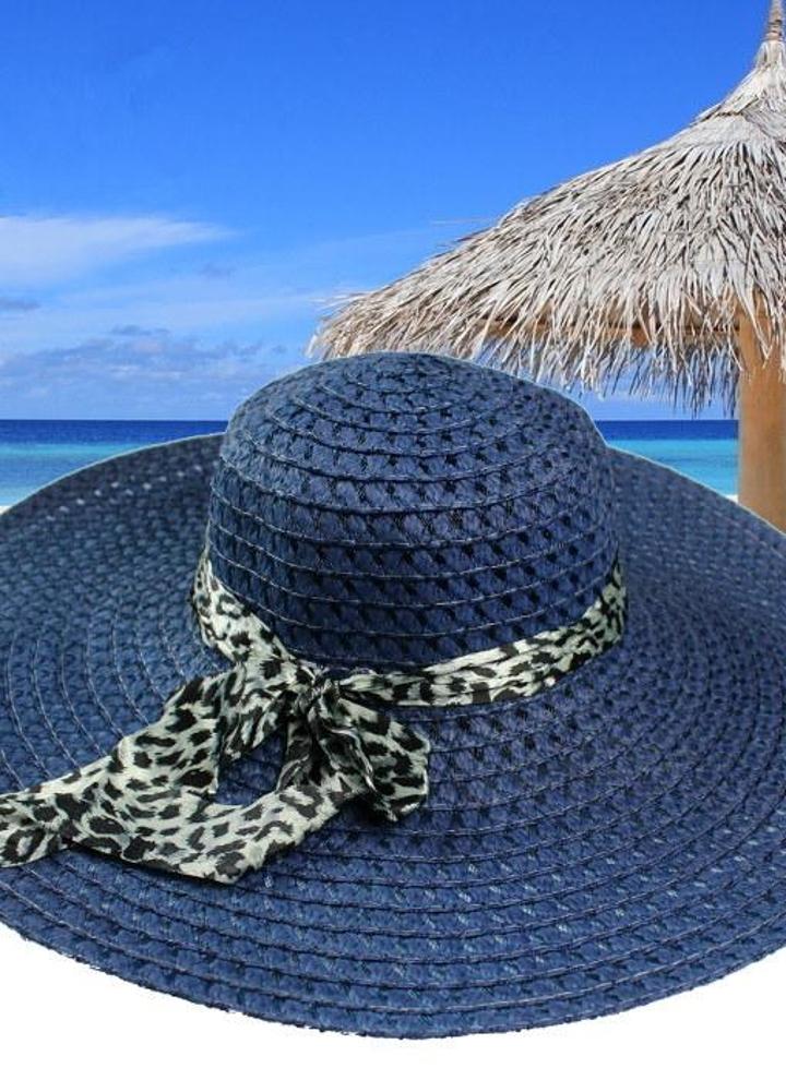 Moda donna cappello da sole cappello di paglia ampio orlo estate spiaggia  Cap con leopardo nastro b31d0c83fce9